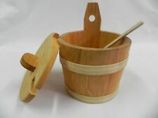 Sugar bowl bucket with spoon and lid - salt spices wood wooden 14 cm 5.5'' /C03