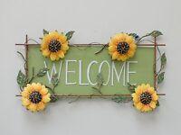 """Metal Sunflower Welcome Sign Wall Art Garden Décor 16.5""""X10"""""""