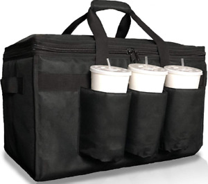 Insulated Food Delivery Bag with Cup Holders/Drink Carriers Premium XL, Great