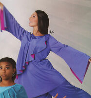 NWT Praise Top Plum  longSleeve Liturgical Praisewear Ladies sizes full sleeve