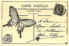 Butterfly Paris Postcard, Wood Mounted Stamp IMPRESSION OBSESSION - New, F8864