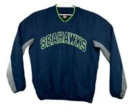 NFL Seattle Seahawks Patched Blue Pullover Windbreaker Jacket Size Medium
