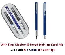 Parker Vector Calligraphy Fountain Pen - GIFT BOX (3 NIBS & 4 CARTRIDGES) -Blue