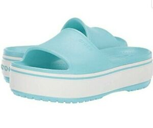 Crocs Iconic Comfort Crocband Platform Slide Sandals Blue Womens Size 9 Mens 7