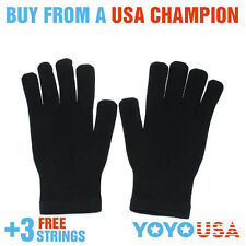 Yo-Yo Glove New Feeling Nylon Glove (Pair) Black + FREE STRINGS