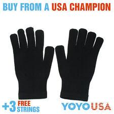 Yo-Yo Glove New Feeling Nylon Glove (Pair) Black + FREE STRINGS