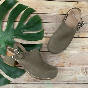 Dansko Marty Sling Back Clogs Size 38  Taupe Gray Suede Wrapped Heel Comfort