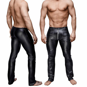 Men's Faux Leather Wet Look Motorcycle Biker Pants Slim Fit Jeans Black Trousers