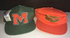 Vintage Miami Hurricanes Hat Lot Of TWO 2 SnapBack 90s NWT Dead Stock USA NCAA