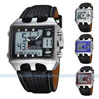 Ohsen Black Alarm Analog Digital Men's Waterproof Quartz Sport Wrist Watch New