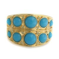 QVC Kenneth Jay Lane Turquoise Cabochon Cuff Bracelet Bracelet