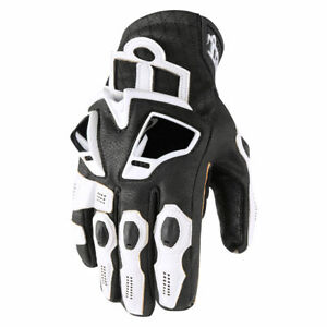 Icon Hypersport GP Motorcycle Motorbike Short Glove White All Sizes