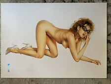 """Sorayama Signed & Numbered 86/250 Nude Female in Black Mask 27""""x 38.5"""" Fair Cond"""