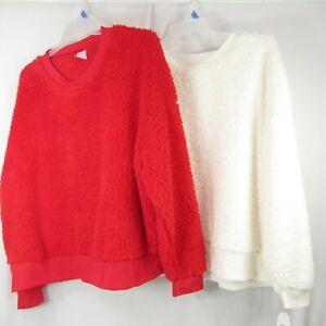 Womens Sherpa Long Sleeve Plus Size 2X Sleepwear Lot of 2 Sweatshirt Red White