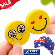 2 x Emoji Smile Erasers Rubber Eraser Office Home School Kids Stationary Gift