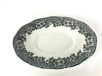 Enoch Wedgwood Malverne Mini Platter Serving Dish Plate Black & White Floral Vtg