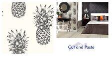 Arthouse Copacabana Black White Shimmer Pineapple Wallpaper, 690900