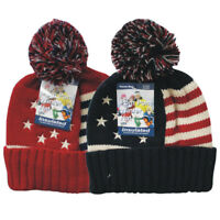 2 Winter Patriotic American Flag Pom Pom Hats