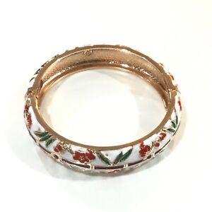 "Rose Gold Tone White Red Green & Purple Enamel Hinged Bangle Bracelet 7 1/4"" L"