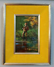 Vintage Raphael Esterida Enamel on Copper Painting Fly Fisherman on River Signed