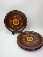 "Georges Briard AZTEC Brown Stoneware 10 1/2"" Dinner Plates Set of 4"