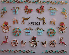 Christmas 3D Nail Art Stickers Decals Gold Snowflakes Reindeer Bows Holly XF6103