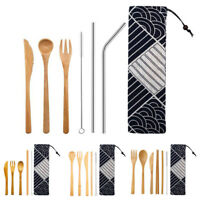 1Set Reusable Bamboo Utensils Flatware Portable Cutlery With Pouch Knife Kitchen