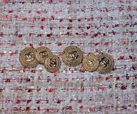 ❤ CHANEL  BUTTONS  Lot of 6 size 20 mm or 0,8 inch Logo CC GOLD  tone BROOCH