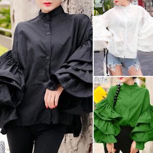 Women Long Puff Sleeve Shirt High Neck Ruffle Button Top Tee Office Party Blouse
