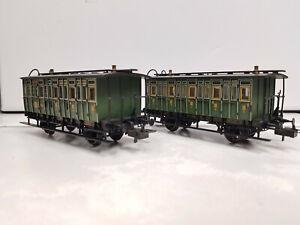 Trix 23716 + 23717 Abteilwagen C + CPost grün Ep. I k.bay.Sts.B. in OVP