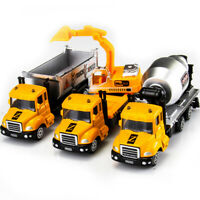 Set of 3 Dumping Truck Cement Mixer Excavator Construction Diecast Toy Vehicle