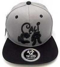 CALI Snapback Cap Hat California Republic Mickey Hands Flat Bill Gray Black NWT