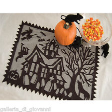 """Spooky Hollow 20""""x 14"""" Placemat Heritage Lace Bat  Black Halloween Ghost"""