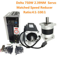 AC Servo Motor Delta 750W 2.39NM A2 Controller + Matched Speed Reducer Gear Box