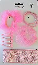 Girls Pink Ballet Hair Accessories set Bun Net Headband Scrunchie Slides Elastic