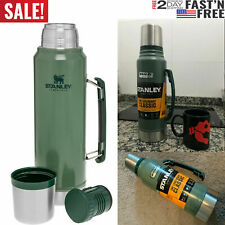 Classic Vacuum Thermos Bottle Coffee Green Hammertone 1.1Qt Stainless !~