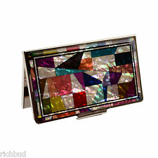 Business Card Holder Box Stainless Steel Case Mother of Pearl Artwork Patchwork