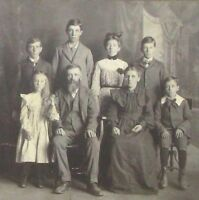 "1870 Original 9""x9"" Antique Sepia Gelatin Silver Photograph, Large Family"