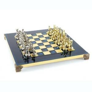 Manopoulos Greek Roman Army Chess Set - Brass Nickel Pawns - Blue chess Board