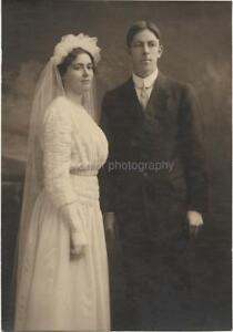 Edwardian Wedding BRIDE + GROOM Vintage FOUND PHOTO bw Original Portrait 99 16 H