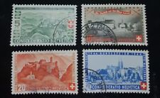 1944 Switzerland USED Semi-Postal Stamps B133 134 135 & 136! VF/XF! Basel Heiden