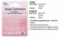 Hemline Invisible Snap Fasteners Poppers Press Studs Clear 7mm Sew On Full Range