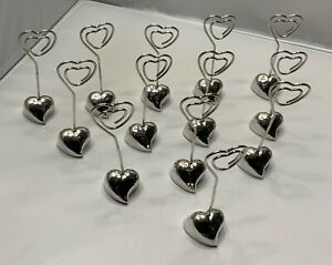 """13 SILVER HEART PARTY PLACE CARD PHOTO FOOD CLIP HOLDER WEDDING  3.5"""""""