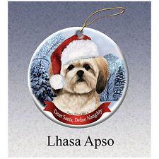 Lhasa Apso Howliday Porcelain China Dog Christmas Ornament