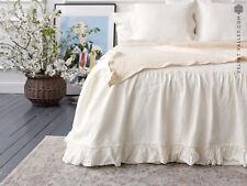 LINEN BED VALANCE. Linen ivory white dust ruffle - Softened linen bed skirt