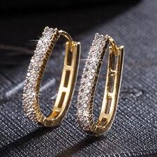 2017 Women Fashion Crystal Gold Elegant Ear Stud Hoop Earrings Wedding Jewelry