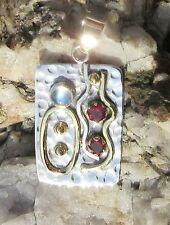 Anhänger Mondstein u Granat rot Stein d Januar Sterling Silber 925 zweifarbig