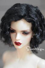 "8-9"" 1/3 BJD Hair IP SD doll wig Super Dollfie black slightly curled M-mohair"