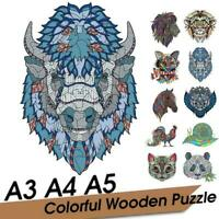 Animal Shape Wooden Jigsaw Puzzles Pieces Adult Kid Games Gifts Education U9H9