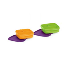 Tupperware _  Clevere Pause _ Brotdose  2 x 550 ml  Lunch Box  Farbe Grun/Orange